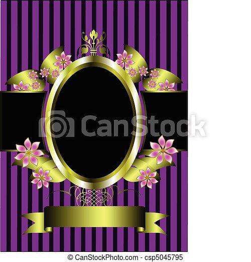 arany, klasszikus, bíbor, keret, háttér, virágos, csíkos - csp5045795