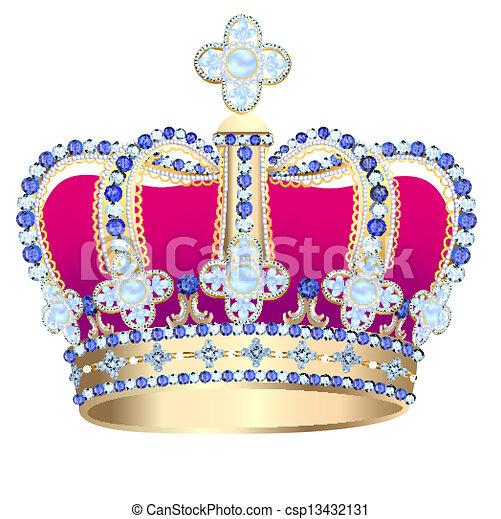 arany, korona, gyöngyszem, tsarist - csp13432131