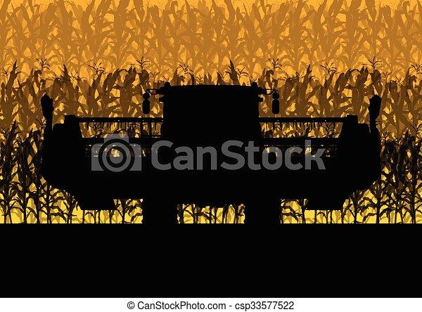 aratógép, gabonaszem, sárga, ősz, mező, vektor, kartell, vidéki, elvont, aratás - csp33577522