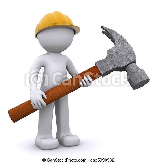 arbeider, bouwsector, hamer, 3d - csp5990932