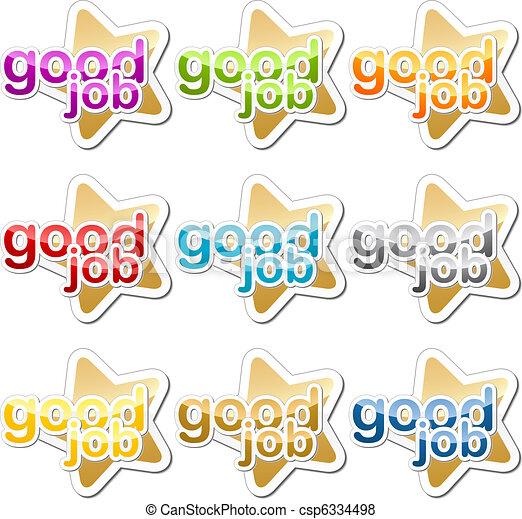 arbeit, guten, motivation, aufkleber - csp6334498