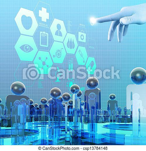 arbeitende , doktor, modern, hand, medizinprodukt, edv, schnittstelle - csp13784148