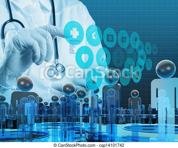 arbeitende , doktor, modern, hand, medizinprodukt, edv, schnittstelle - csp14101742