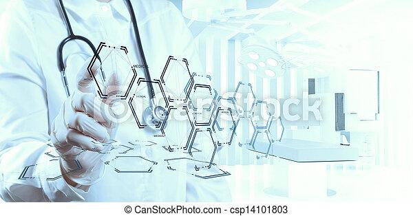 arbeitende , doktor, modern, hand, medizinprodukt, edv, schnittstelle - csp14101803