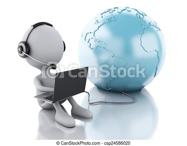3d weiße Person arbeitet auf einem Laptop mit Kopfhörern und Erdgl - csp24586020