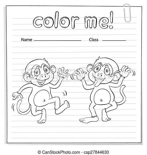 Arbeitsblatt, färbung, affen. Färbung, arbeitsblatt, zwei ...