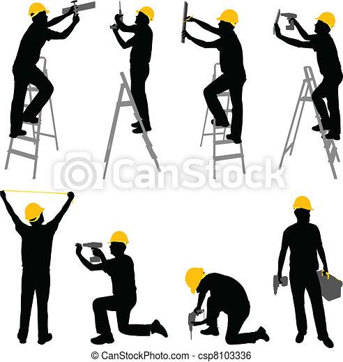 arbejdere, konstruktion - csp8103336