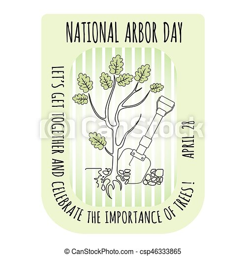 Arbor Day icon. Young oak tree. Vector illustration. - csp46333865
