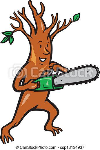 Arborist arbre tron onneuse homme b cheron arbre illustration style tron onneuse fait - Coloriage tronconneuse ...