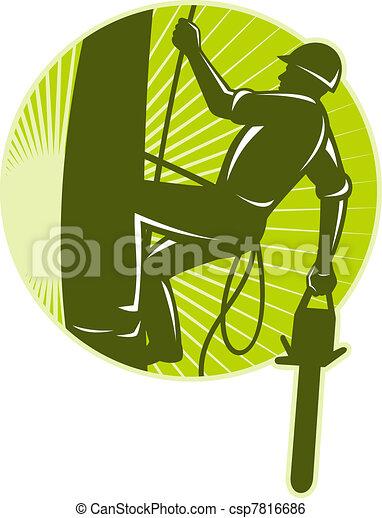arborist tree surgeon chainsaw retro - csp7816686