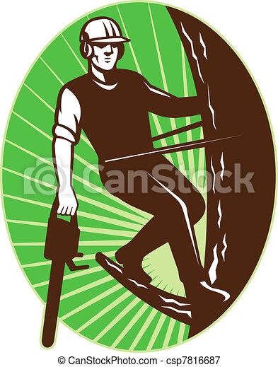 arborist tree surgeon chainsaw retro - csp7816687