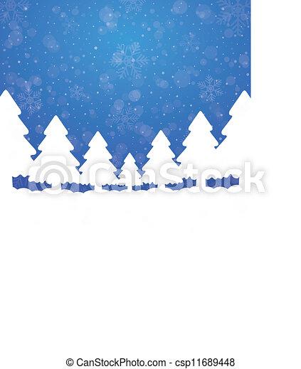arbre, arrière-plan bleu, neige, étoiles, blanc - csp11689448
