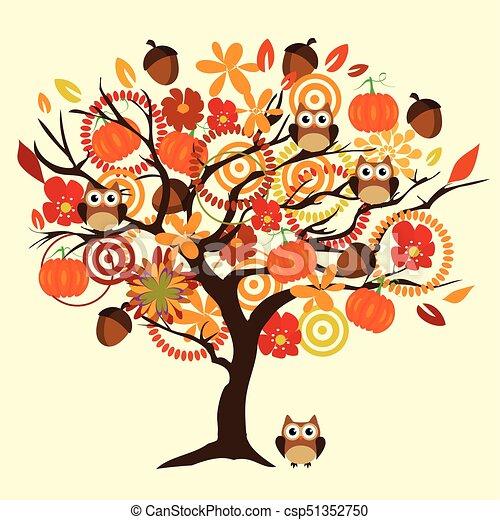 arbre, automne - csp51352750