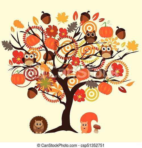 arbre, automne - csp51352751