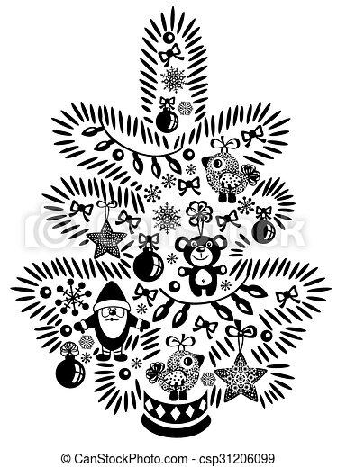Arbre Blanc Noir Noël