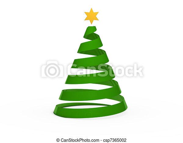 arbre, chritmas, étoile, vert, 3d - csp7365002