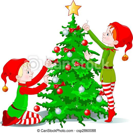 arbre, décorer, elfes, noël - csp2860088