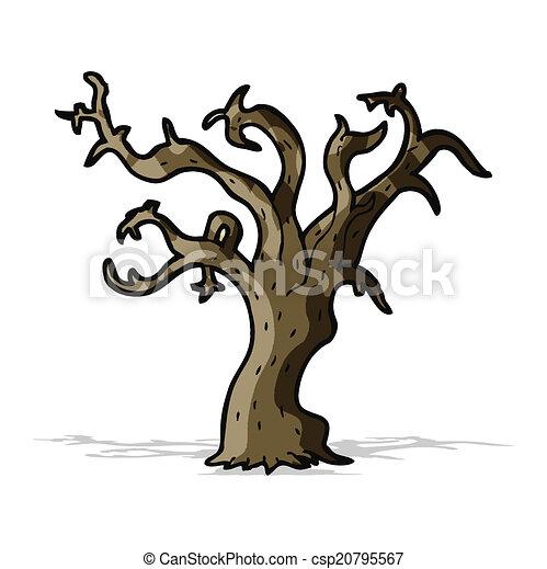 arbre, dessin animé, hiver - csp20795567