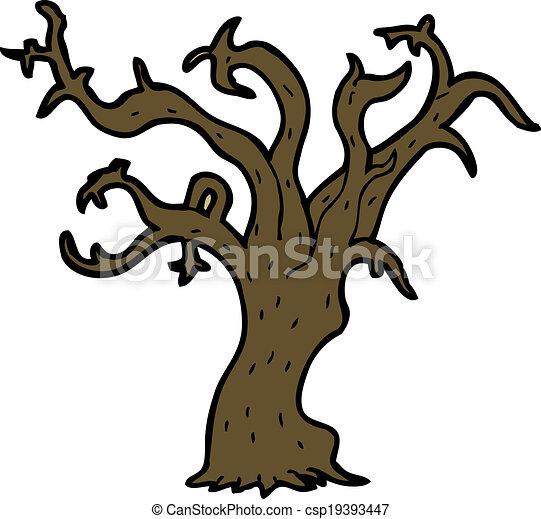 arbre, dessin animé, hiver - csp19393447