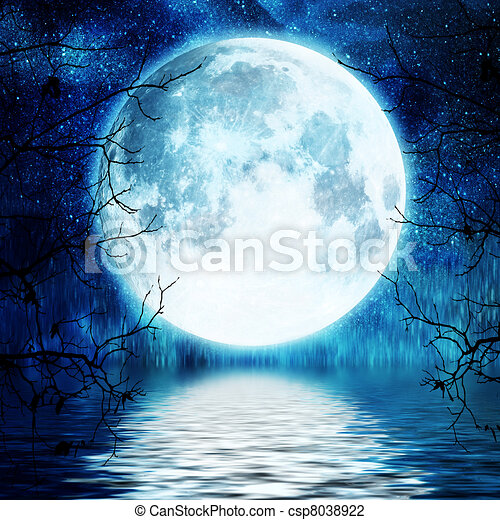 arbre, entiers, branches, contre, lune - csp8038922