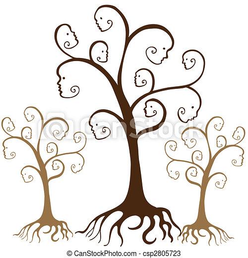 arbre, famille, faces - csp2805723