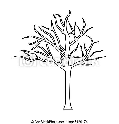 Arbre Feuilles Sans Silhouette Branches Silhouette Feuilles Arbre Illustration Sans Vecteur Branches Canstock