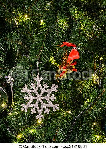 arbre, flocon de neige, noël - csp31210884
