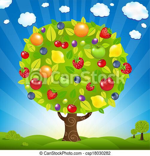 arbre fruitier, paysage - csp18030282