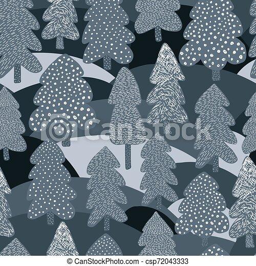 arbre hiver, pattern., seamless, pin, scandinave, arrière plan., forêt, griffonnage
