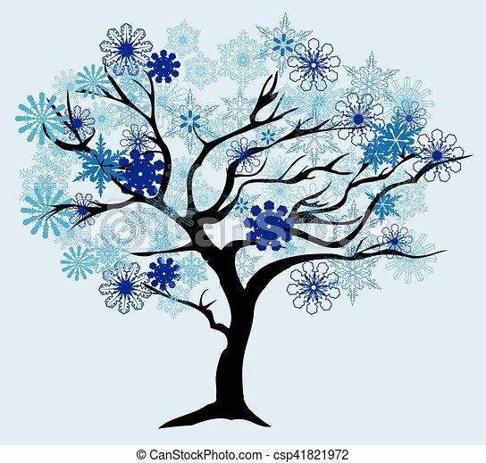 arbre, neige - csp41821972