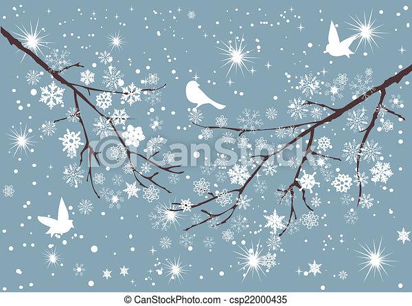 arbre, neige - csp22000435