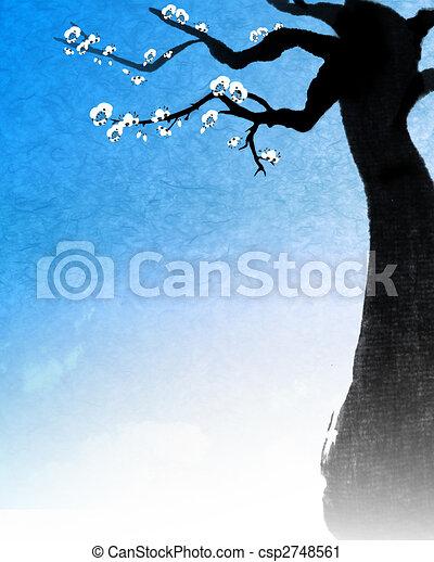 Arbre peinture chinois beau bleu chinois arbre sakura fond peinture - Dessin arbre chinois ...
