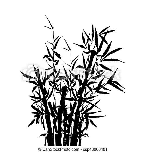 Arbre plante illustration arbre japonaise traditionnel vecteur sumi bambou peinture - Dessin arbre japonais ...