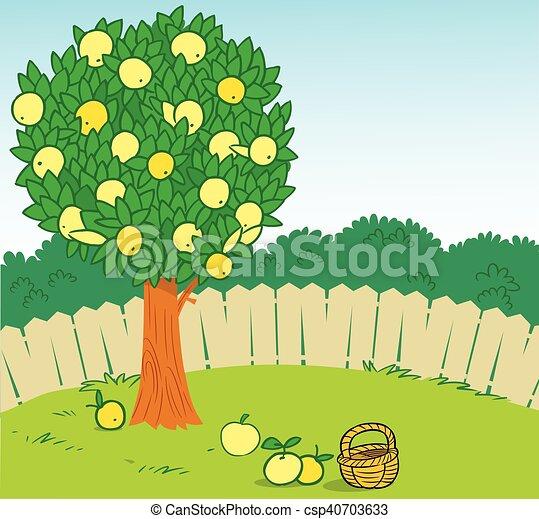 arbre pomme jardin csp40703633 - Jardin Dessin