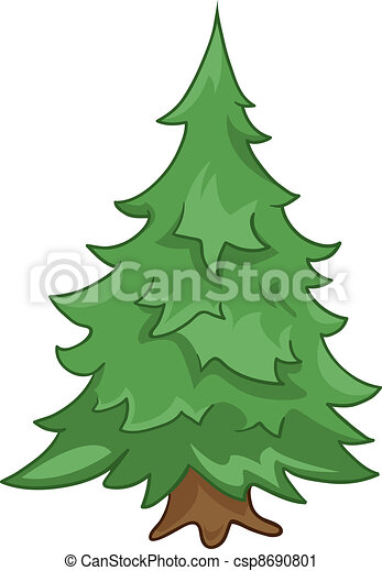 Arbre Sapin Dessin Anime Nature Sapin Nature Arbre Isole Arriere Plan Vector Blanc Dessin Anime Canstock