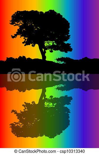 arbre, silhouette - csp10313340