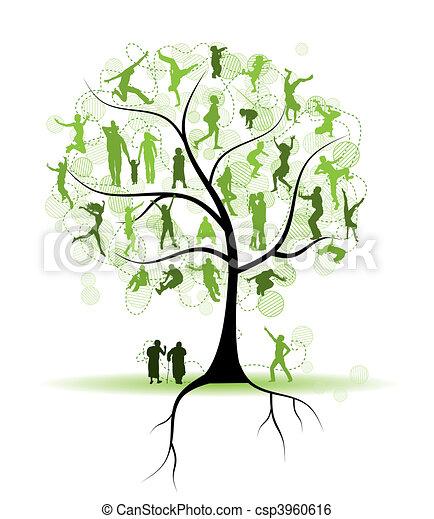 arbre, silhouettes, parents, famille, gens - csp3960616
