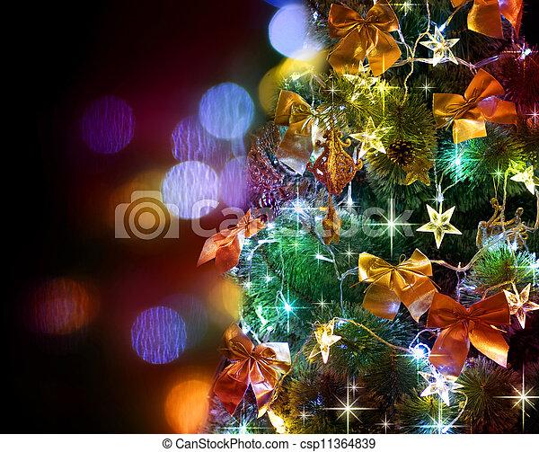 arbre, sur, noir, noël, decorated. - csp11364839