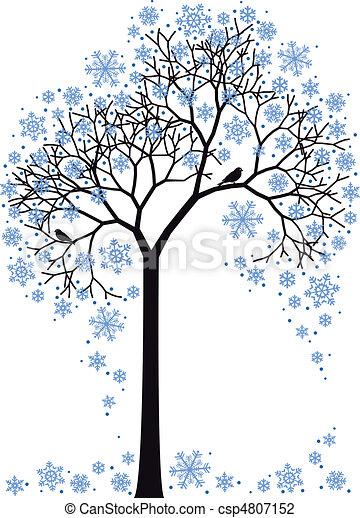 arbre, vecteur, hiver - csp4807152