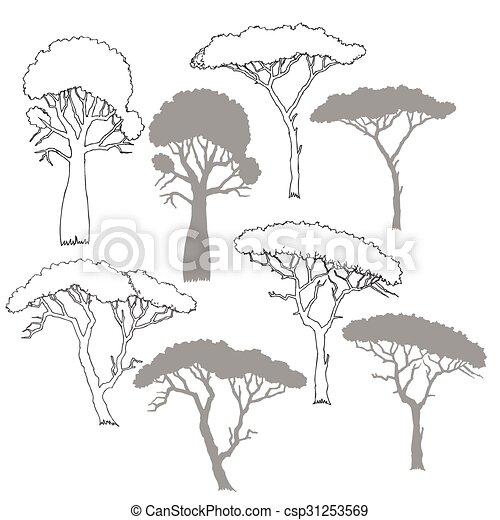 Arbres savane arbres illustration main vecteur - La savane dessin ...