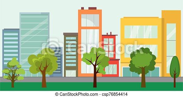 arbres, vie, rue vide, concept, ville, urbain - csp76854414