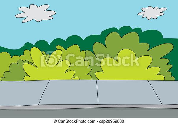 La acera y los arbustos - csp20959880