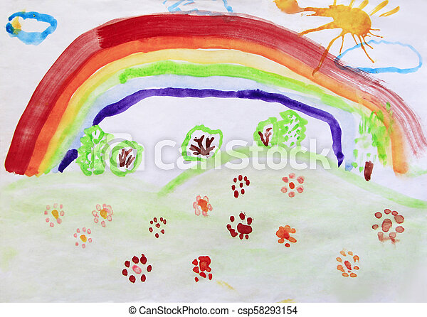 Arbustos Arco Iris Colorido Crianca Clareira Flores Desenho