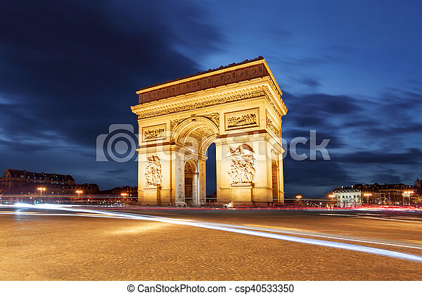 Arc De Triomphe and light trails, Paris - csp40533350