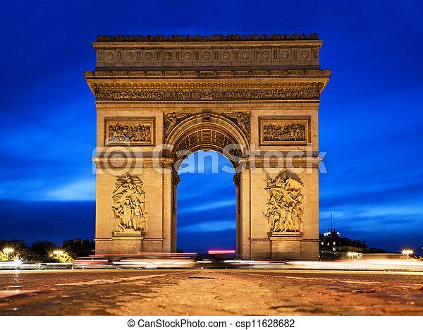 Arc de Triomphe at night, Paris, France. - csp11628682