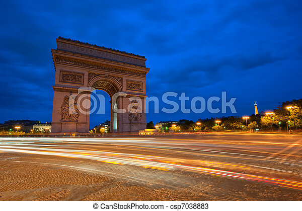 Arc de Triomphe at night, Paris, France - csp7038883