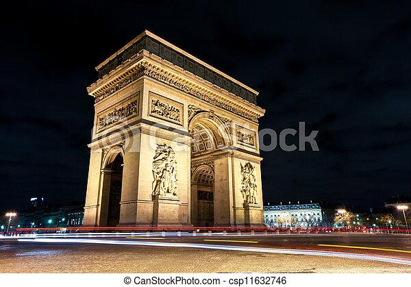 arc de triomphe at night paris image of the arc de triomphe in