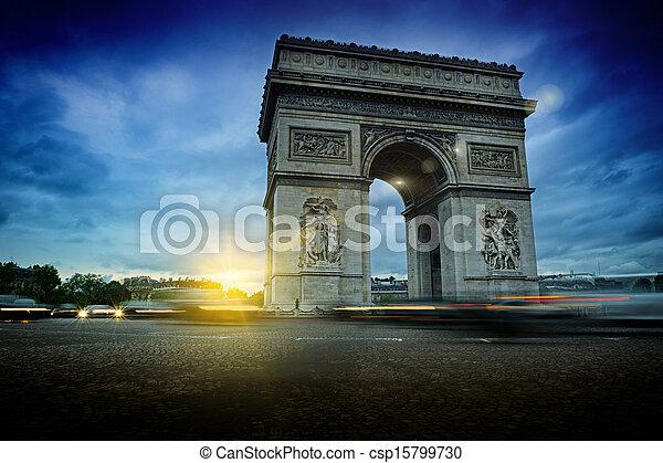 Arc de Triomphe at night - csp15799730