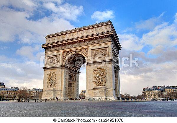 Arc de triomphe Paris city at day - csp34951076