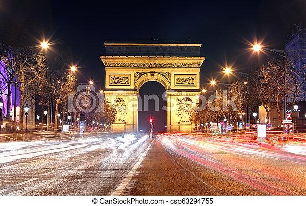 Arc de Triomphe, Paris France - csp63294755